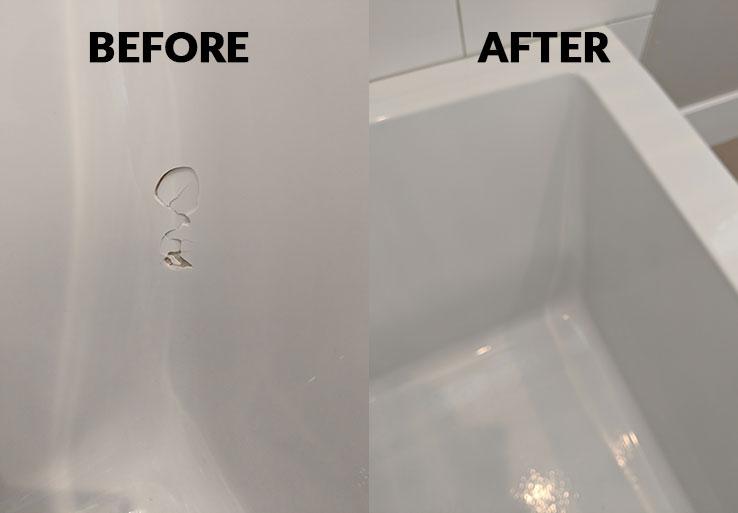 bathtub chip repair example